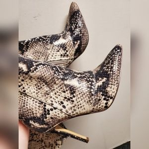 Shoes - Faux snake skin thigh high boots